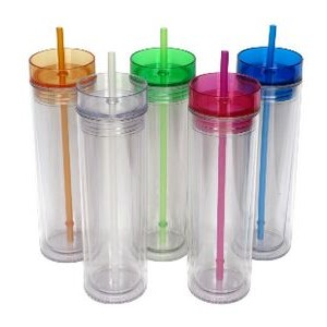 Breeze: 16 oz. Double Wall Acrylic Tumbler with Colored Lid and Matching St