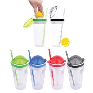 16 Oz. Double-Wall AS Plastic Mug w/Flip Lid
